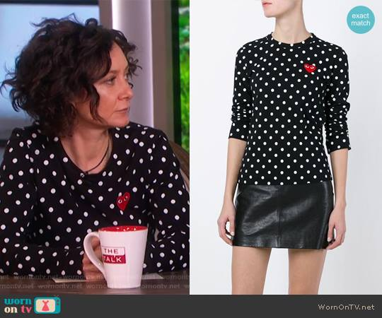 Embroidered Heart Polka Dot T-shirt by Comme Des Garçons Play worn by Sara Gilbert on The Talk