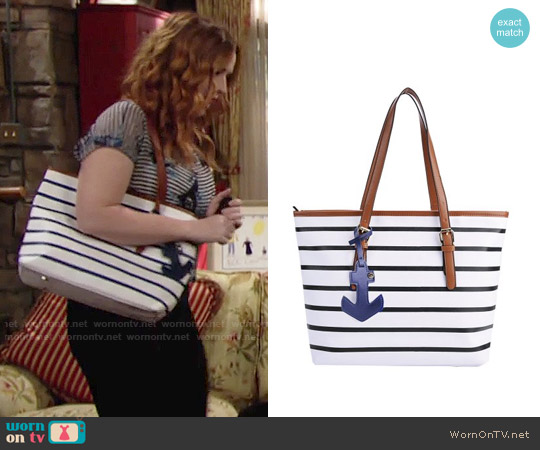 Coofit Stripes Tote Bag with Sea Anchor Pendant worn by Mariah Copeland on The Young & the Restless