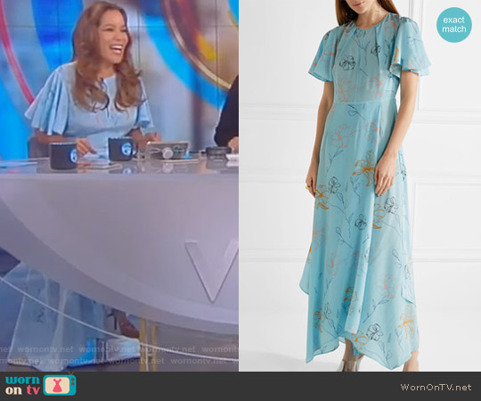 Floral Print Silk Drepe de Chine Maxi Dress by Diane von Furstenberg worn by Sunny Hostin on The View