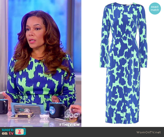 Printed dress by Diane von Furstenberg worn by Sunny Hostin on The View