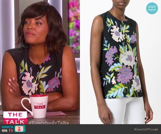 Floral Print Sleeveless Blouse by Diane von Furstenberg worn by Aisha Tyler  on The Talk
