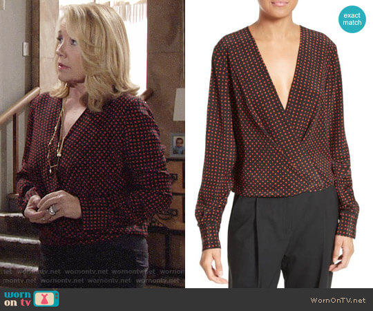 Diane von Furstenberg Dot Print Silk Drape Front Blouse worn by Nikki Reed Newman (Melody Thomas-Scott) on The Young & the Restless