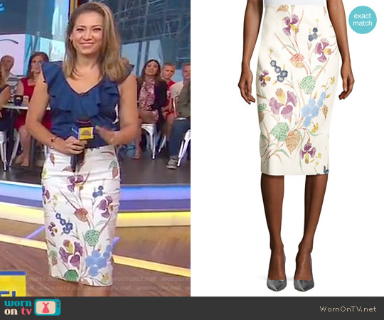 Floral Leather Midi Pencil Skirt by Diane von Furstenberg worn by Ginger Zee  on Good Morning America