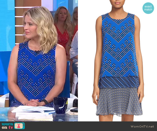Liza Mix Print Tiered Silk Drop Waist Dress by Diane von Furstenberg worn by Sara Haines on Good Morning America