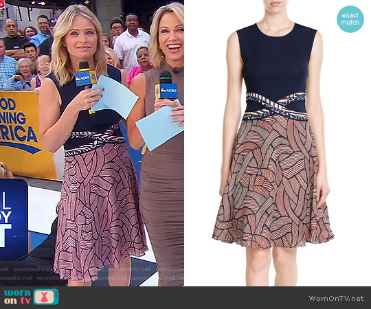 Printed Dress by Diane von Furstenberg worn by Sara Haines on Good Morning America