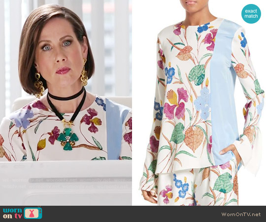 Diane von Furstenberg Slit Sleeve Print Stretch Silk Blouse worn by Diana Trout (Miriam Shor) on Younger