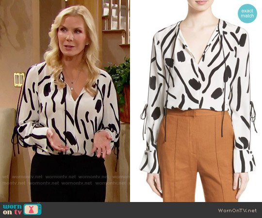 Diane von Furstenberg Slit Sleeve Silk Blouse worn by Katherine Kelly Lang on The Bold & the Beautiful