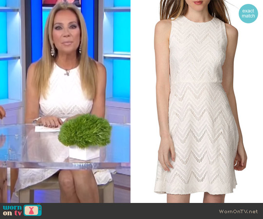 Chevron Lace Fit & Flare Dress by Donna Morgan worn by Kathie Lee Gifford on Today
