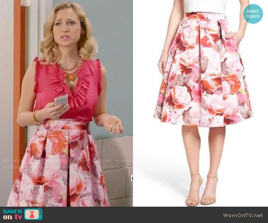 Eliza J Floral Print Pleated Midi Skirt worn by Heather Flynn-Kellogg on Daytime Divas