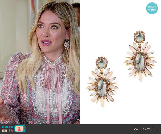 Elizabeth Cole Statement Sage Blush Earrings worn by Kelsey Peters on Younger