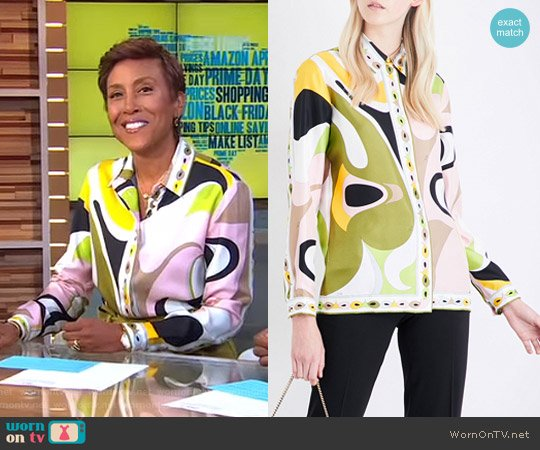 Abstract Graphic-Print Silk-Twill Shirt by Emilio Pucci worn by Robin Roberts  on Good Morning America