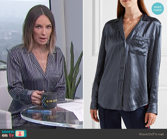 'Keira' Striped Silk-Satin Shirt by Equipment worn by Catt Sadler on E! News