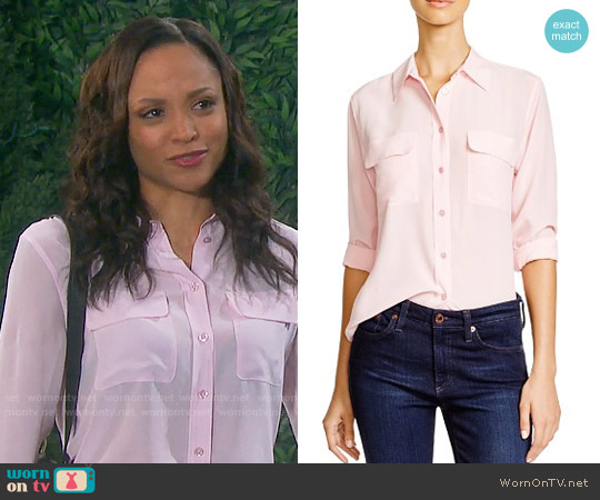 Equipment Pink Slim Signature Button Down worn by Lani Price (Sal Stowers) on Days of our Lives