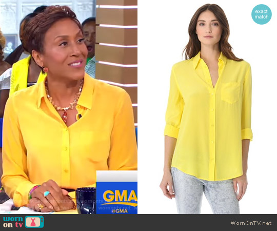 Reese Button Down Shirt with One Pocket by Equipment worn by Robin Roberts on Good Morning America