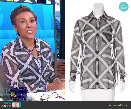 Silk Printed Top by Equipment worn by Robin Roberts on Good Morning America
