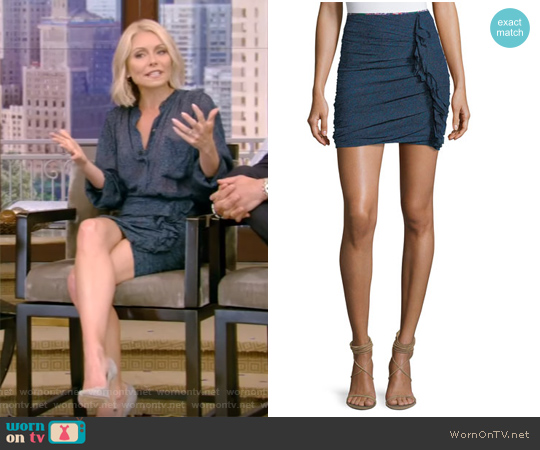 Jipson High-Waist Ruched Printed Mini Skirt by Isabel Marant worn by Kelly Ripa on Live with Kelly & Ryan