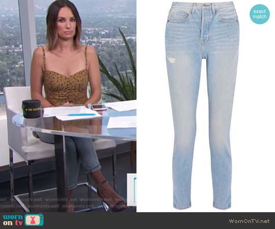 Le Original Skinny distressed high-rise straight-leg jeans by Frame worn by Catt Sadler on E! News