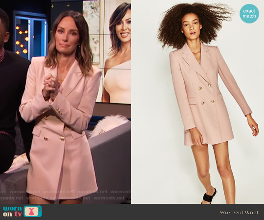Frock Coat Dress by Zara worn by Catt Sadler on E! News