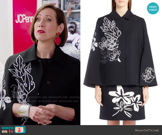 Fendi Floral Embroidered Wool & Silk Cape worn by Miriam Shor on Younger
