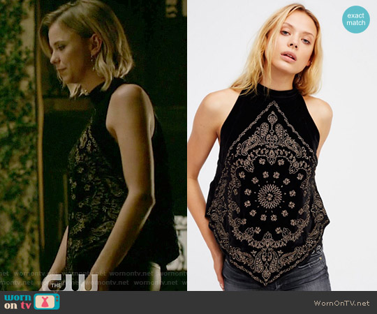 Bandana Bling Tank by Free People worn by Riley Voelkel on The Originals