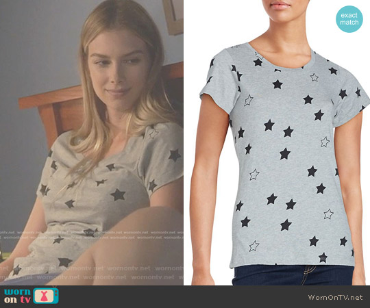 Star Print Cotton Tee by French Connection worn by Emma Ishta on Stitchers