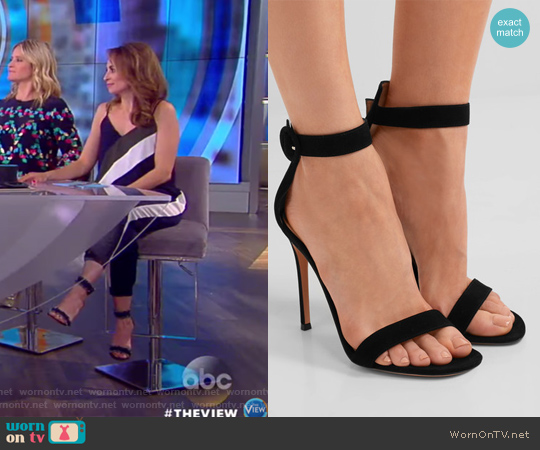 Black suede sandles by Gianvito Rossi worn by Jedediah Bila on The View