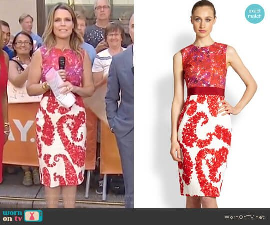 Mixed Media Floral Dress by Giambattista Valli worn by Savannah Guthrie on Today