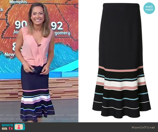 Flared Striped Skirt by Jason Wu worn by Ginger Zee on Good Morning America