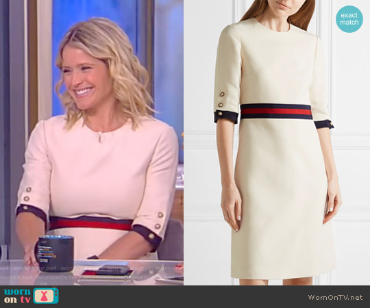 Grosgrain Trimmed Wool and Silk-Blend Mini Dress by Gucci worn by Sara Haines on The View