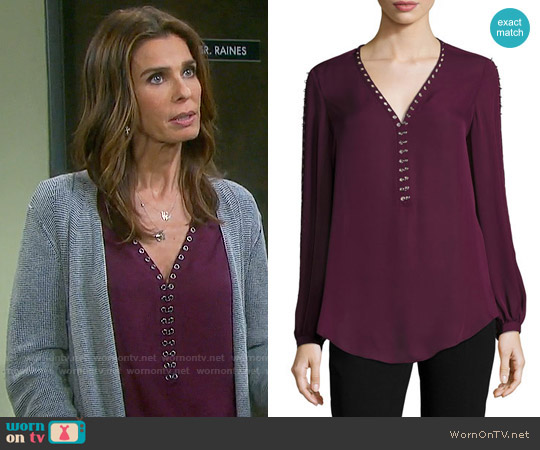 Haute Hippie Sagat Split-Sleeve Silk Blouse worn by Kristian Alfonso on Days of our Lives