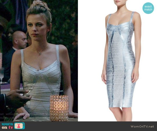 Judith Foiled Metallic Bandage Dress by Herve Leger worn by Riley Voelkel on The Originals