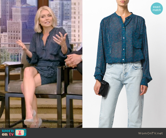 Jaws Printed Chiffon Shirt by Isabel Marant worn by Kelly Ripa on Live with Kelly & Ryan