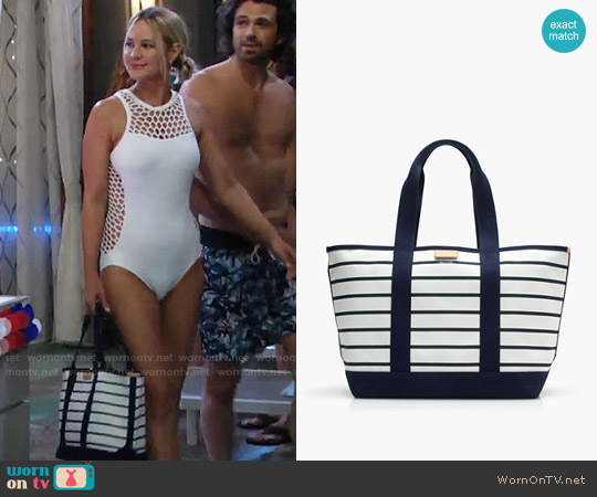 J. Crew Surfside Canvas Tote in Stripe worn by Sharon Collins on The Young & the Restless