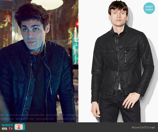 Resin Coated Moto Jacket by John Varvatos worn by Matthew Daddario  on Shadowhunters