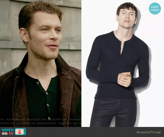 Silk Cashmere Waffle Knit Henley by John Varvatos worn by Klaus Mikaelson (Joseph Morgan) on The Originals