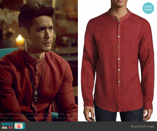Solid Slim-Fit Shirt by John Varvatos worn by Harry Shum Jr. on Shadowhunters