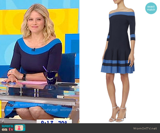 Off Shoulder Flare Dress by Jonathan Simkhai worn by Sara Haines on Good Morning America