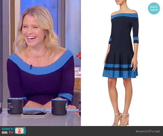 Off Shoulder Flare Dress by Jonathan Simkhai worn by Sara Haines on The View