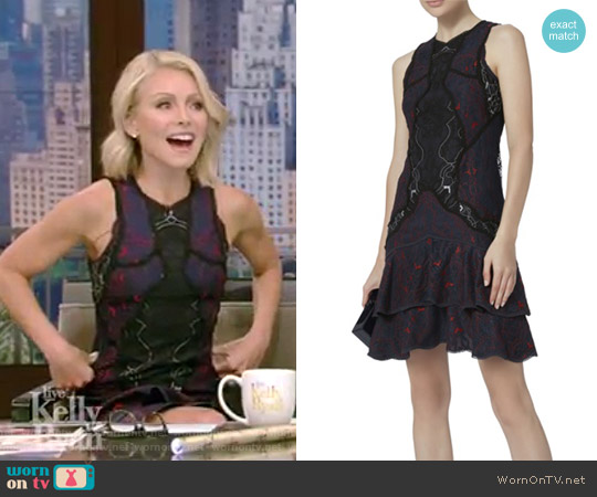 Two-Tone Lace Mini Dress by Jonathan Simkhai worn by Kelly Ripa on Live with Kelly & Ryan