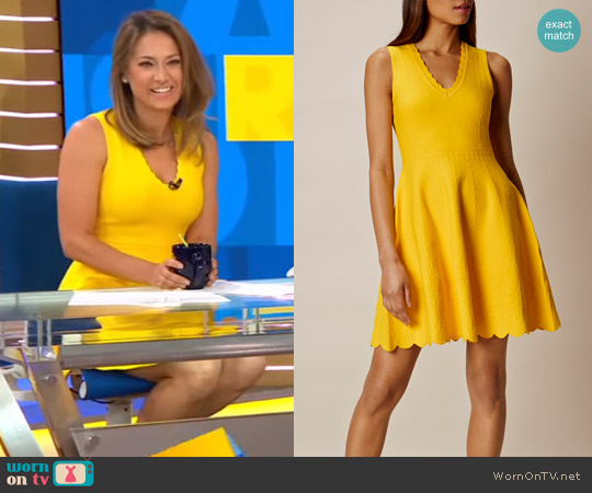 Jacquard Fit & Flare Dress By Karen Millen worn by Ginger Zee on Good Morning America