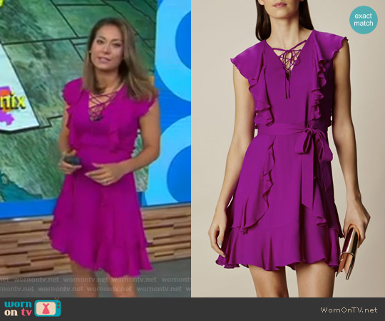 Ruffle and  Lace-Up Dress by Karen Millen worn by Ginger Zee  on Good Morning America