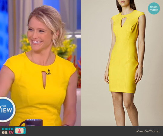 Yellow Scuba Pencil Dress by Karen Millen worn by Sara Haines  on The View