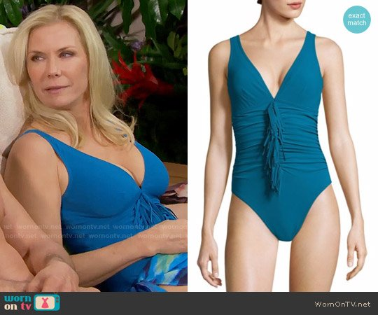 Karla Colletto Fresco Fringed Swimsuit worn by Brooke Logan (Katherine Kelly Lang) on The Bold & the Beautiful