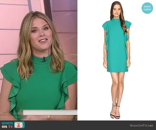 Satin Crepe Flutter Sleeve Dress by Kate Spade worn by Jenna Bush Hager  on Today