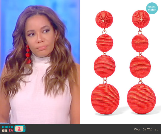 Earings: Gold-plated cord earrings by Kenneth Jay Lane worn by Sunny Hostin on The View