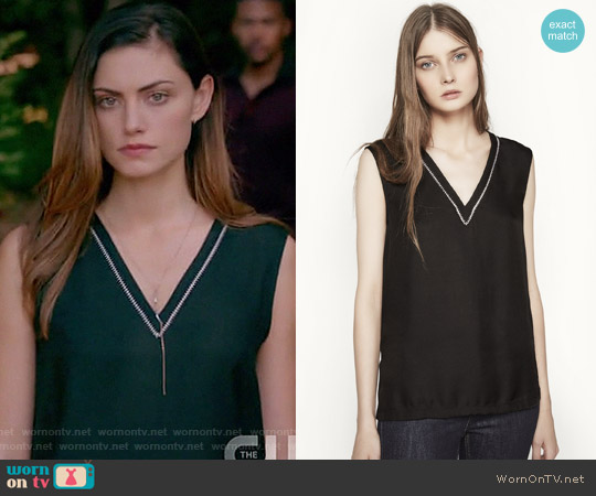 Lara Woven Top by Maje worn by Phoebe Tonkin on The Originals