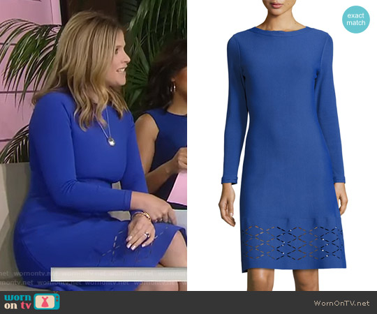 Diamond Laser-Cut Long-Sleeve Dress by Lela Rose worn by Jenna Bush Hager on Today