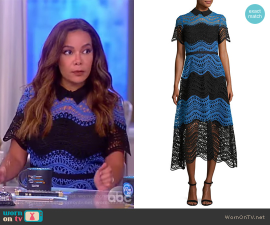 Wavy Striped Lace Midi Shirtdress by Lela Rose worn by Sunny Hostin on The View
