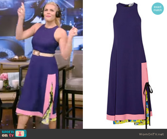 Layered Printed Crepe Dress by Msgm worn by Busy Phillips on Live with Kelly