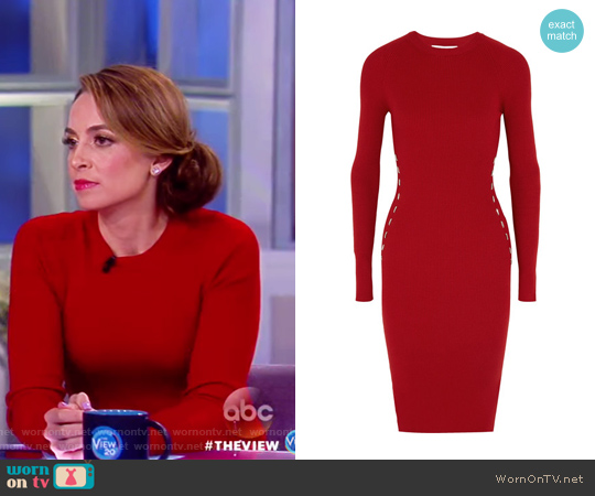 Embellished ribbed-knit dress by Mugler worn by Jedediah Bila on The View